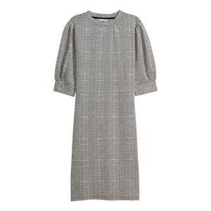 H&M | Houndstooth Plaid Puff Sleeve Dress